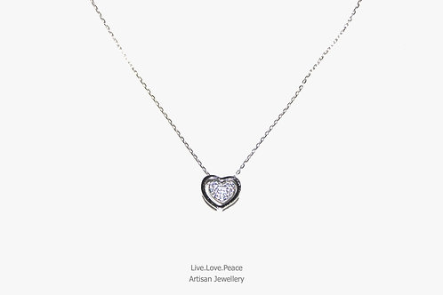 'Interlocking Love' Sterling Silver Necklace With Diamonds