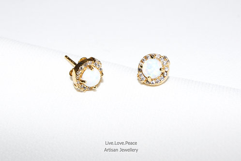 'Opalus' Gold Push Back Earrings With Diamonds