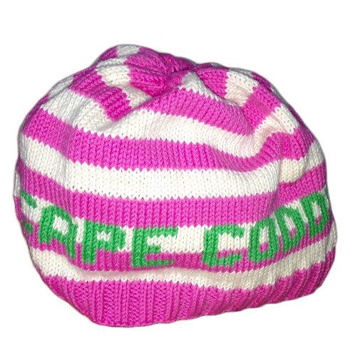Cape Codder Knit Hat - Pink Stripes