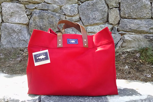 Cape Codder Bateau Tote (Red, Navy, Natural)