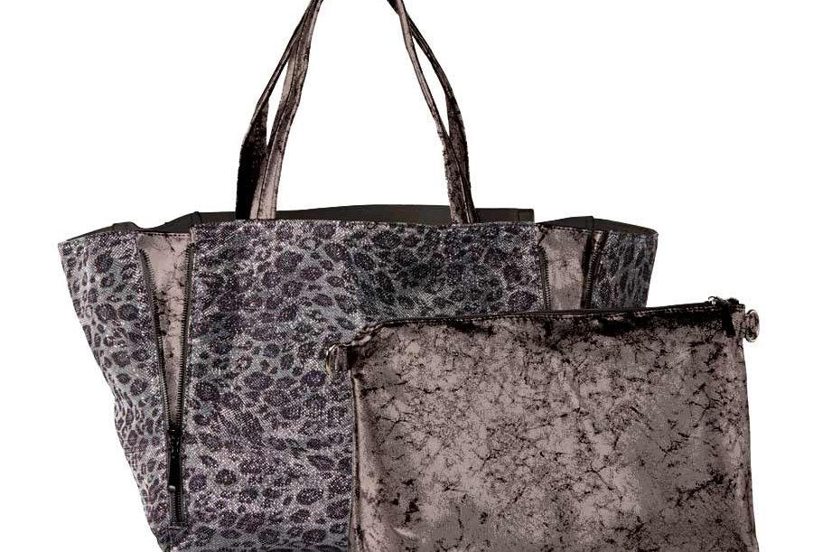 Marken-Taschen-Duo, grau-silber