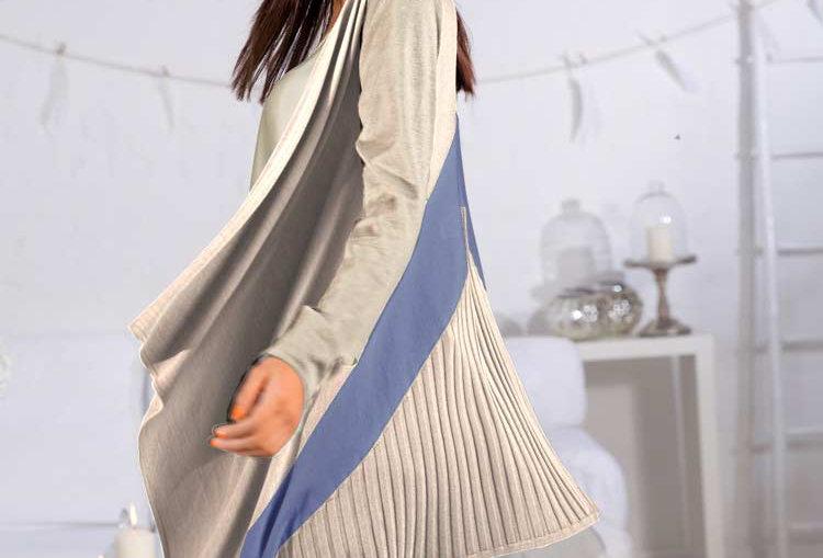 Designer-Cardigan, sand-bleu