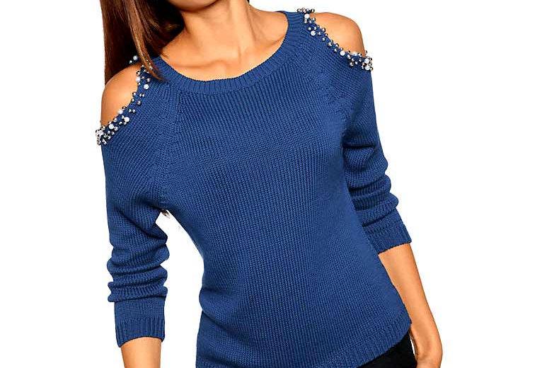 Designer-Pullover . Perlen, royalblau