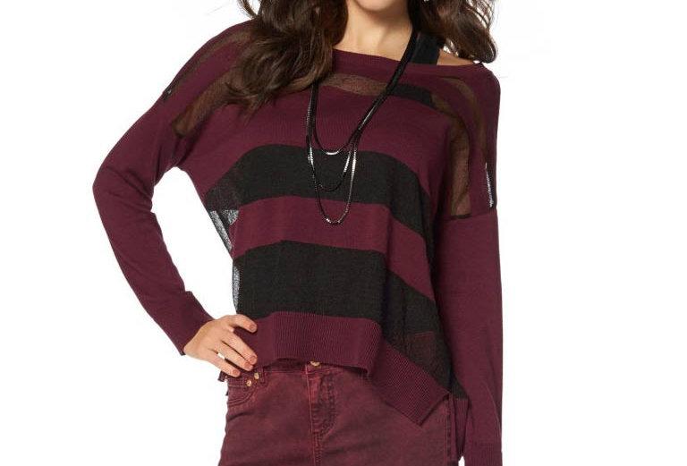 Streifen-Pullover, bordeaux-schwarz