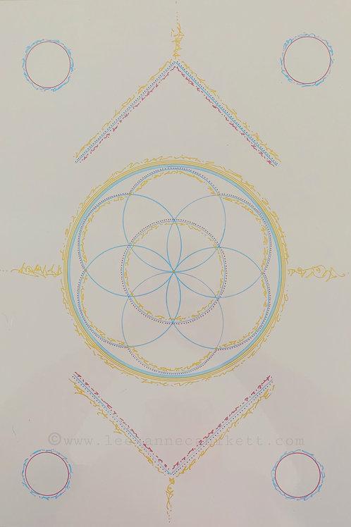 Flower of life light language grid