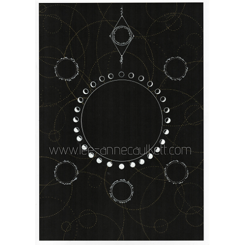 New Moon Intention Crystal Grid, Oracle Card Layout  - DIGITAL PRINT