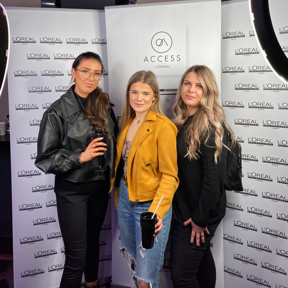 Kiri, Robyn and Charlotte at a hair training event.