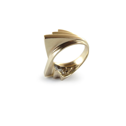 Solid Gold Double Fan Ring