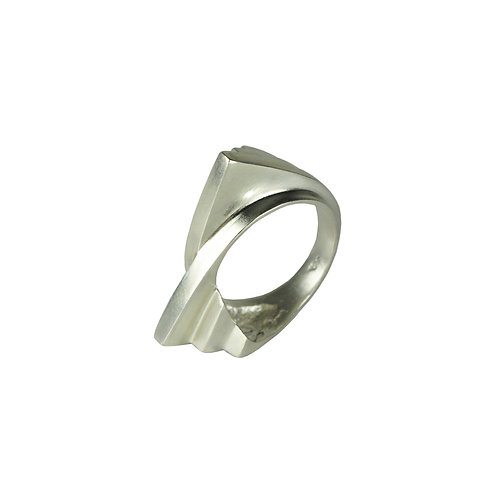 Sterling Silver Double Fan Curved Ring