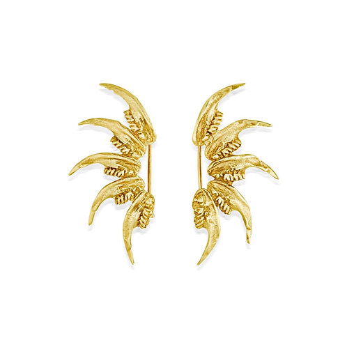 Elegant Art Nouveau Gold Jaw Climber Earrings