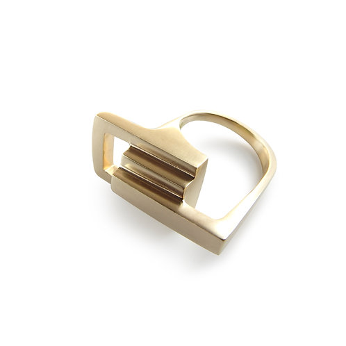 Solid Gold Zipper Link Ring