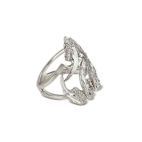 Elegant Silver Jaw Nouveau Ring