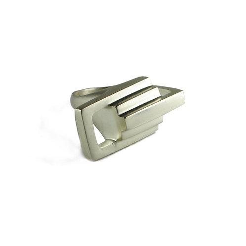 Silver Zipper Link Ring