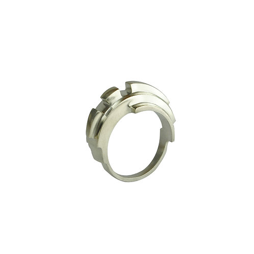 Solid Silver Angular Curve Ring