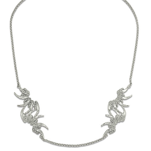 Silver Squared Jaw Nouveau Necklace