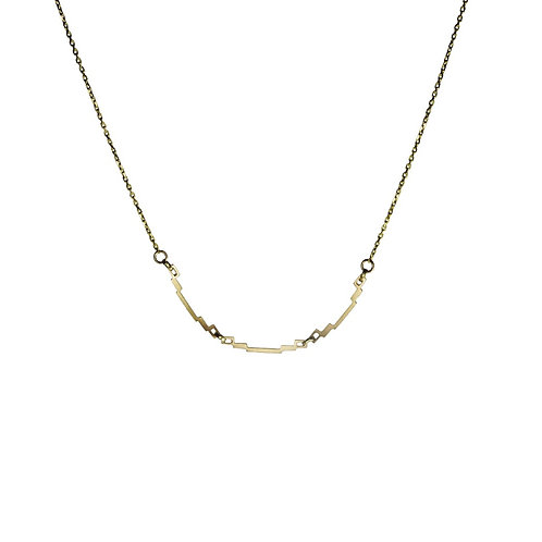 Three Links Gold Art Deco Necklace