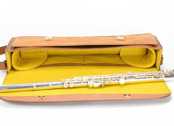 Intérieur jaune housse cuir flûte traversière