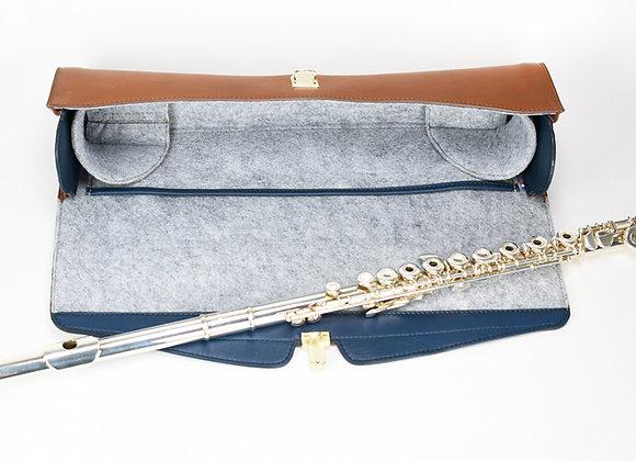 Intérieur housse cuir flûte traversière gris bleu et camel