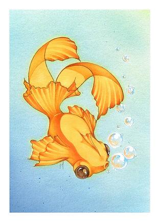 Mini Bubbly Goldfish Print