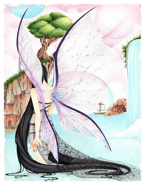 Big Dark Fairy of The Sea Print