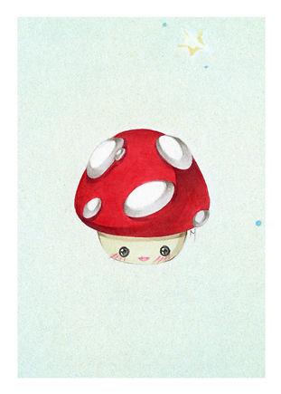 Mini Mario Mushroom Print