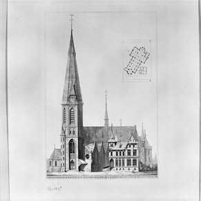 Ontwerptekening van de St. Urbanuskerk door Pierre Cuijpers