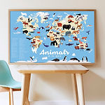 POPPIK stickers animals animaux planisph