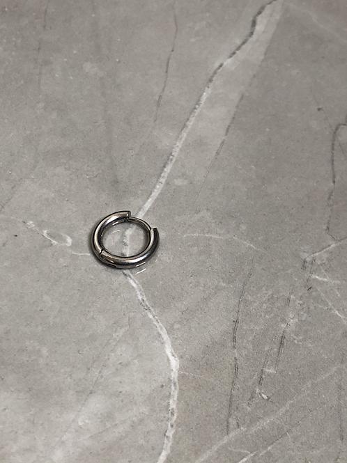 Boucle d'oreilles anneau en acier argenté