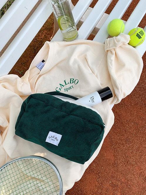 Trousse de toilette Galbo Sport velours côtelé vert sapin