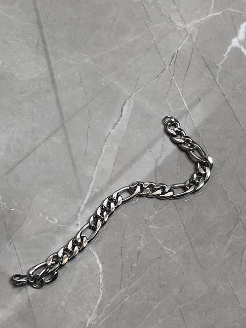 Bracelet Homme grosse maille en acier argenté