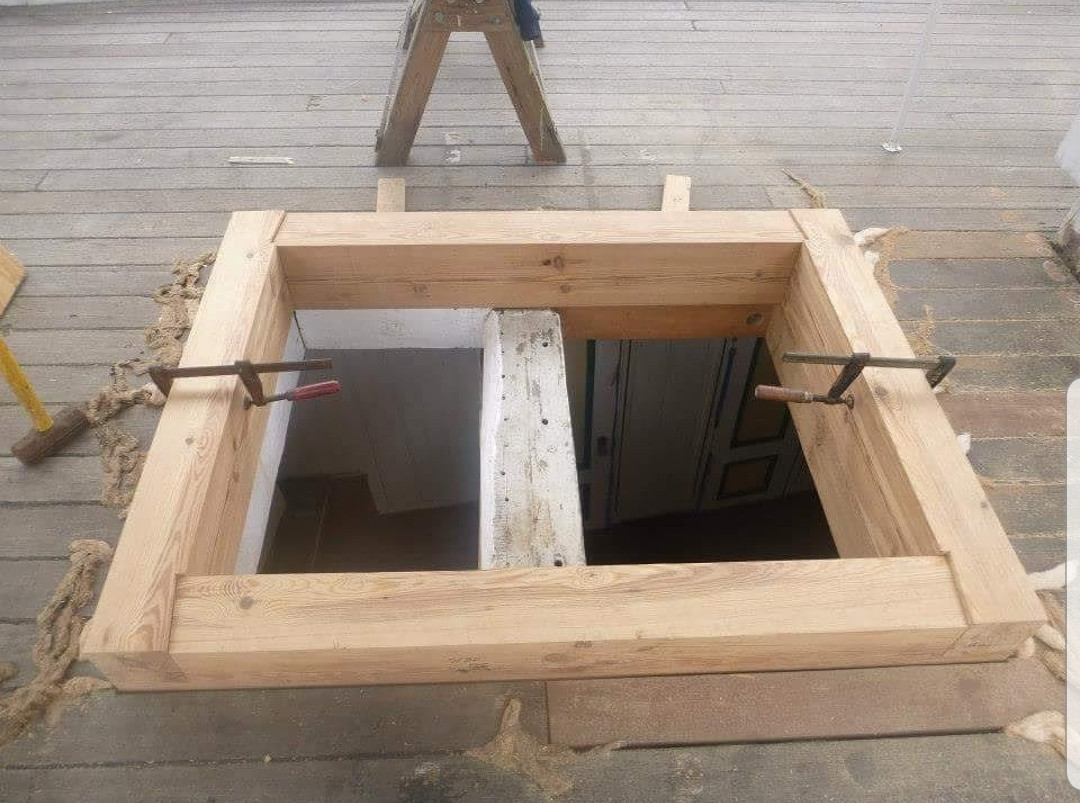 New deck hatches made of Yellow Pine for the Tall Ship Gazela.