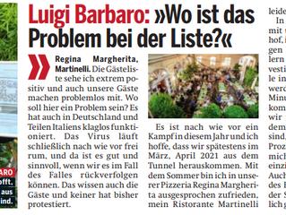ÖSTERREICH TAGESZEITUNG: Luigi Barbaro: »Wo ist das Problem bei der Gastro-Registrierungspflicht?«