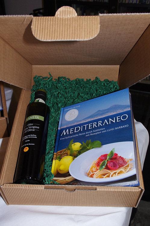 Geschenkbox: Kochbuch Mediterraneo + 1 Fl. Oliven Öl (Planeta)