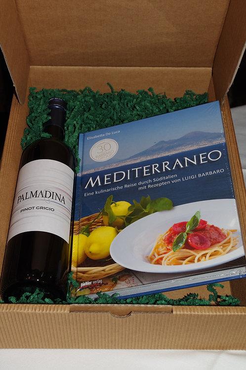 Geschenkbox: Kochbuch Mediterraneo + 1 Fl. Pinot Grigio