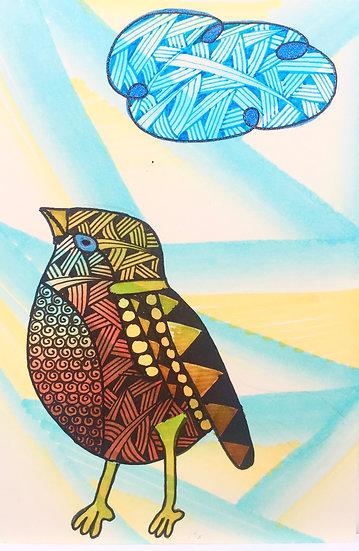 Zentangled Bird (Blue)
