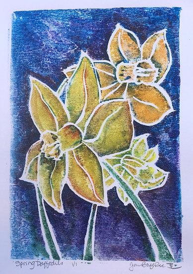 Spring Daffodils, whiteline woodcut, Jeanne Bouza Rose
