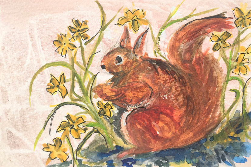 Red Squirrel amongst Spring Flowers