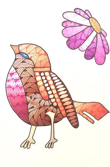 Zentangled Bird (Pink)