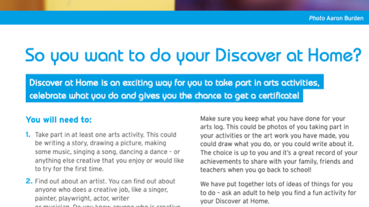 Activity Pack: Arts Award Discover Qualification