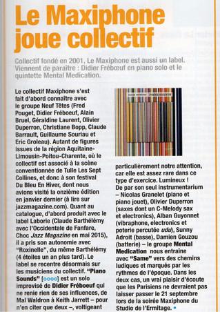 "Focus ""Jazzmag"" par Philippe Méziat"