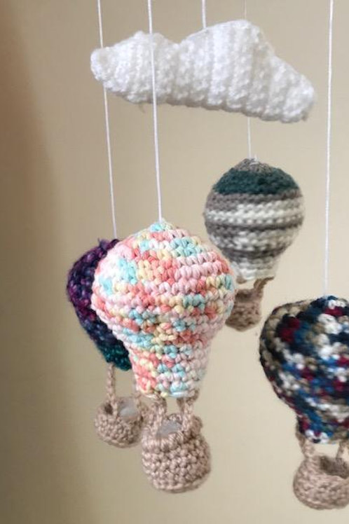 Crocheted Air Balloons Mobile.