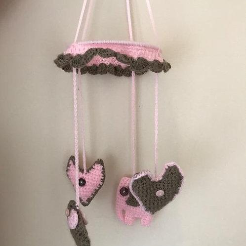 Crocheted Elephant & Heart Mobile