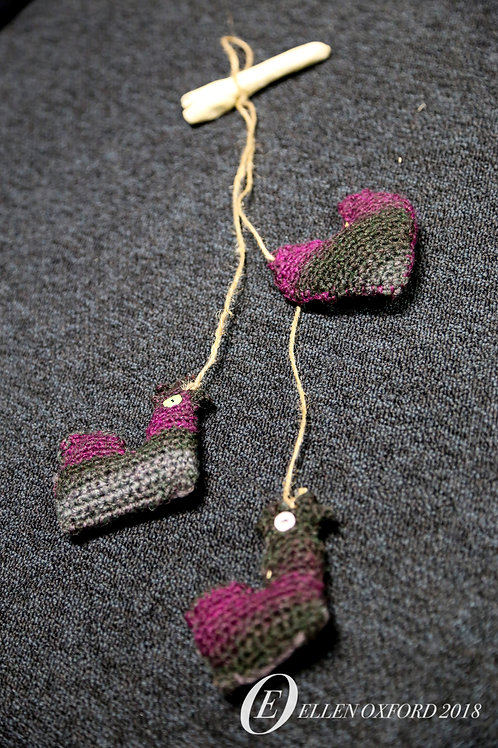Chicken & Heart Crochet Ornament