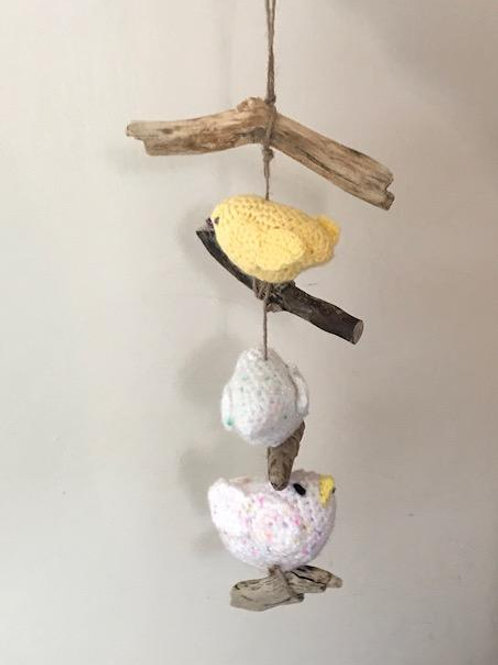 Crocheted Birds Mounted on Driftwood and Twine
