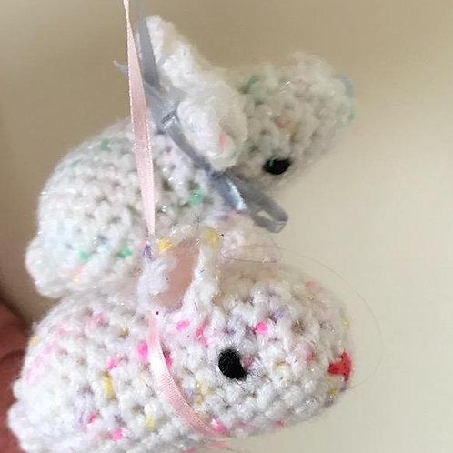 Crocheted Rabbits Pram/Cot Ornament