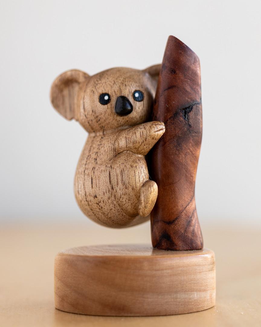 Koala Woodcarved figure, Butternut maple and sequioa