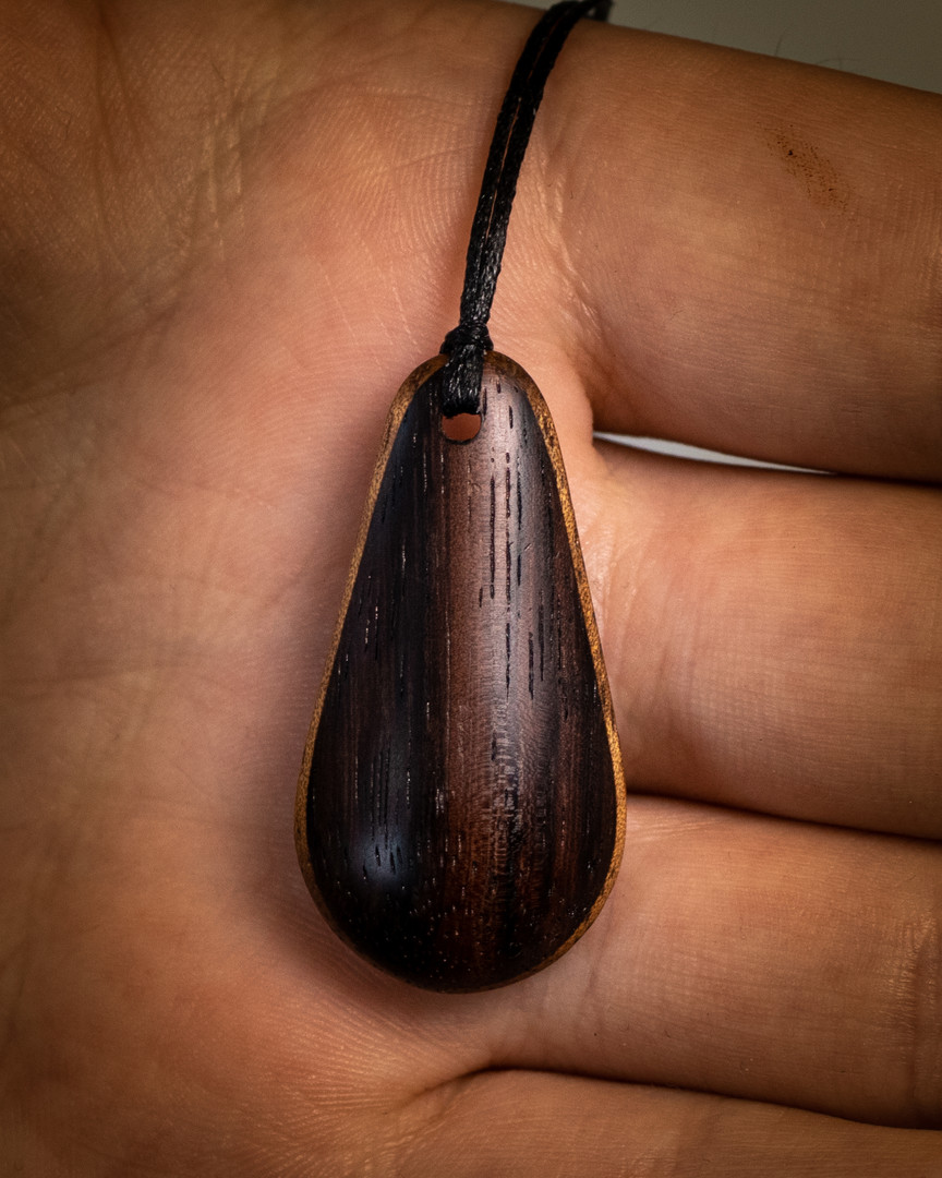 Wood pendant rosewood maple necklace