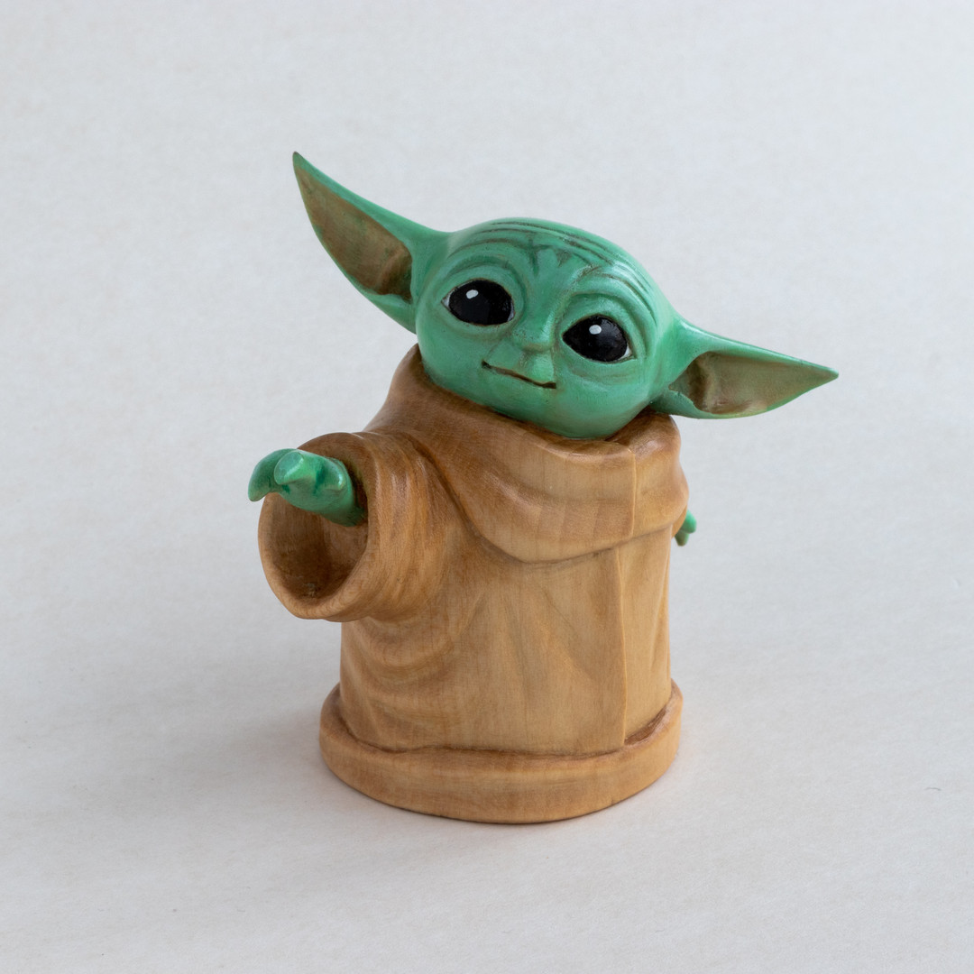 Hand Carved Wooden Baby Yoda