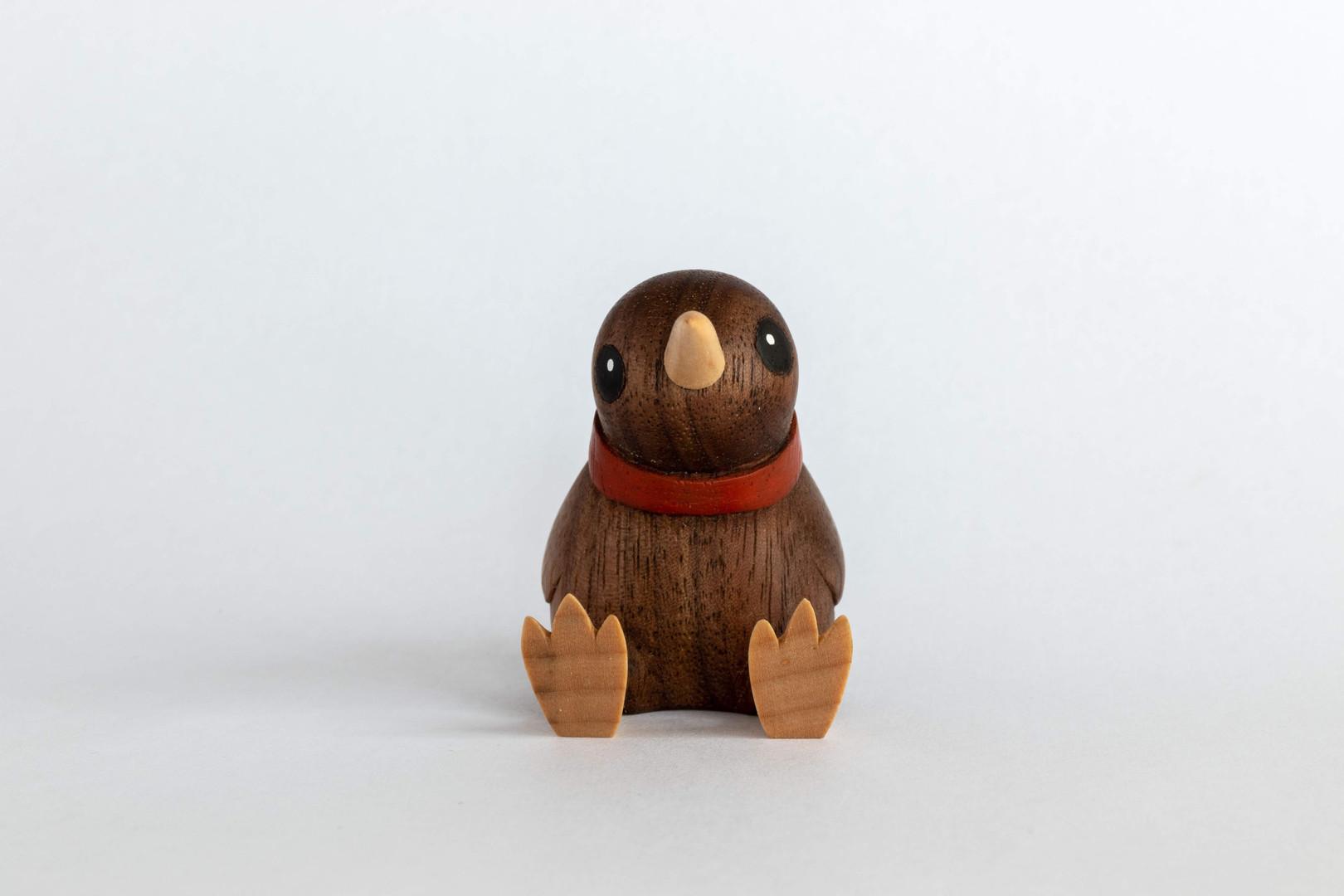 Kiwi wood carving handmade NZ figure in walnut and maple