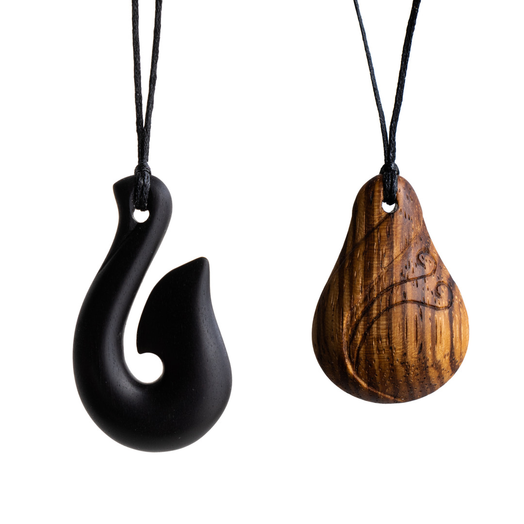 Ebony fishhook Zebrawood teardrop pendant necklace handcarved handmade
